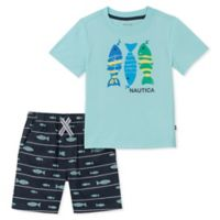 Nautica® Size 24M 2-Piece Fish Shirt and Short Set in Mint