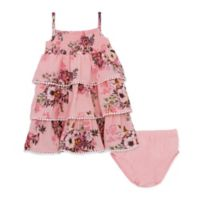 Size 6-9M 2-Piece Ruffle Floral Dress with Diaper Cover in Rose