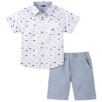 Nautica® Size 3-6M 2-Piece Whale Shirt and Shorts Set