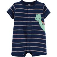 carter's® Size 9M Striped Dinosaur Romper in Navy