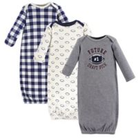 Hudson Baby® Size 0-6M 3-Pack Football Gowns
