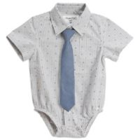 Sovereign Code® 0-3M Geometric Stripe Button Up Onesie With Tie in Grey