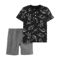 carter's® 6M Dino Print 2-Piece Set in Black/Grey