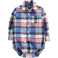 OshKosh B'gosh® 18M Easter Plaid Bodysuit in Blue/Pink
