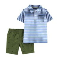 carter's® 12M Stripe Top & Shorts 2-Piece Set in Blue/White