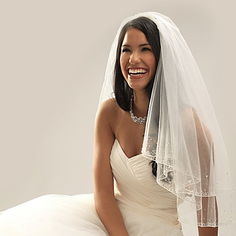 Swarovski Crystal Beaded Edge Elbow-Length 2- Layer Bridal Veil in Diamond White