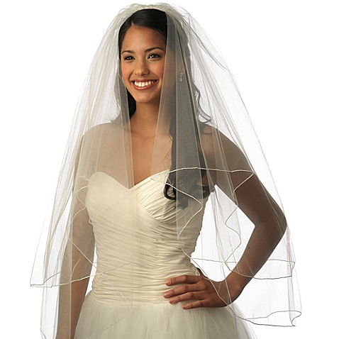 Pencil Edge Fingertip-Length 2-Layer Bridal Veil in White