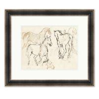 Horses 28.25-Inch x 24.25-Inch Paper Framed Print in Black/white