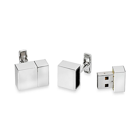 Silver-Plated 2GB USB Flash Drive Cufflinks