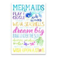 Mermaid Typgraphy 24-inch x 36-Inch Canvas Wall Art