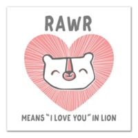 Designs Direct Lion Love 16-Inch Square Canvas Wall Art