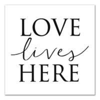 Designs Direct Love Lives Here 16-Inch x 16-Inch Canvas Wall Art in Black