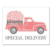 Designs Direct Valentine Heart Special Delivery Truck Canvas Wall Art in Pink
