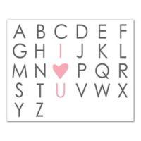 Designs Direct I Heart U Alphabet 16-Inch x 20-Inch Canvas Wall Art in Grey
