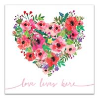 Designs Direct Love Lives Here 16-Inch Square Canvas Wall Art