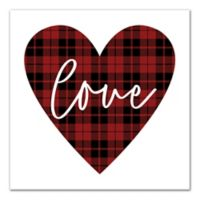Designs Direct Plaid Love 16-Inch Square Canvas Wall Art