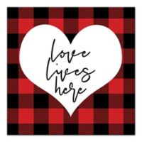 """Designs Direct 20-Inch x 20-Inch """"Love Lives Here"""" Canvas Wall Art"""
