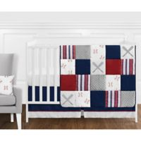 Sweet Jojo Designs® Baseball Patch 11-Piece Crib Bedding Set in Red/White/Blue