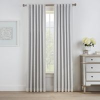 Oslo Jacquard 108-Inch Rod Pocket/Back Tab 100% Blackout Window Curtain Panel in White
