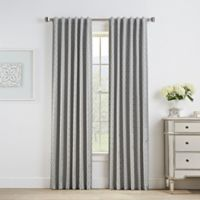 Oslo Jacquard 108-Inch Rod Pocket/Back Tab 100% Blackout Window Curtain Panel in Grey