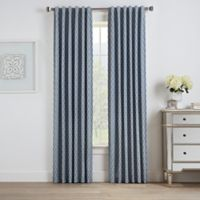 Oslo Jacquard 108-Inch Rod Pocket/Back Tab 100% Blackout Window Curtain Panel in Marine