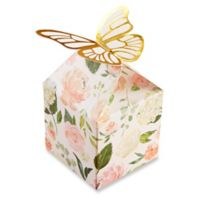 Kate Aspen 12-Pack Butterfly Favor Boxes in White/Green