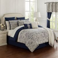 Miramar 14-Piece Queen Comforter Set in Navy