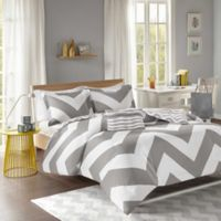 Mi Zone Libra Reversible Chevron King/California King Duvet Cover Set in Grey