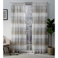 Exclusive Home Bern 108-Inch Rod Pocket Sheer Window Curtain Panel Pair in Café