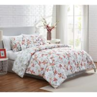 VCNY Home Jasmine Reversible Full/Queen Duvet Cover Set in Coral