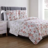 VCNY Home Jasmine Reversible King Quilt Set in Coral