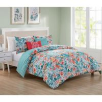 VCNY Home Kayla Reversible Queen Duvet Cover Set in Blue/Coral
