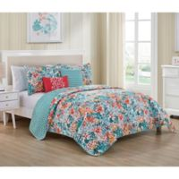 VCNY Home Kayla Reversible Queen Quilt Set in Blue/Coral