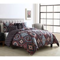 VCNY Home Coria 3-Piece Full/Queen Reversible Comforter Set in Burgundy/Blue