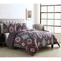 VCNY Home Coria Full/Queen Reversible Duvet Cover Set in Burgundy/Blue
