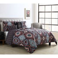 VCNY Home Coria Full/Queen Reversible Quilt Set in Burgundy/Blue
