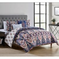 VCNY Home Kensington 5-Piece Reversible King Comforter Set in Navy/Coral