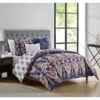 VCNY Home Kensington Reversible Queen Duvet Cover Set in Navy/Coral