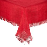 Saro Lifestyle Mari Sati 60-Inch Square Fringed Table Topper Throw in Red