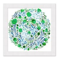 Green Floral Circle 27.5-Inch Square Framed Wall Art