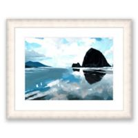 Dark Haystack Rock 40.25-Inch x 32.25-Inch Framed Wall Art