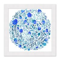 Blue Floral Circle 27.5-Inch Square Framed Print Wall Art