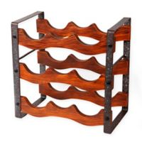 Danya B.™ 9-Bottle Rustic Countertop Wine Rack in Brown