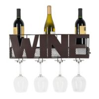 Danya B.™ Wine Bottle and Long Stem Glass Rack Wall Art in Brown