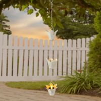 Flower 3-Light Solar Tea Light Dangler in White