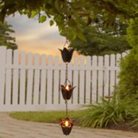 Flower 3-Light Solar Tea Light Dangler in Copper