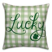 Designs Direct Buffalo Check Lucky Square Throw Pillow in Green