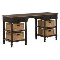 Hillsdale Furniture Seneca Desk with 4 Baskets in Waxed Black