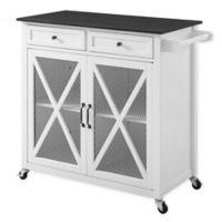 Linon Home Ashboro 2-Door Kitchen Cart in White