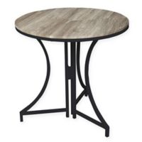 SpaceMaster™ Round Wood Pattern Folding Table in Black